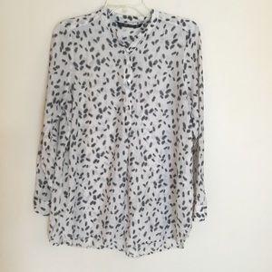 TRF Zara Silk Blend Tunic Feather Print Top White